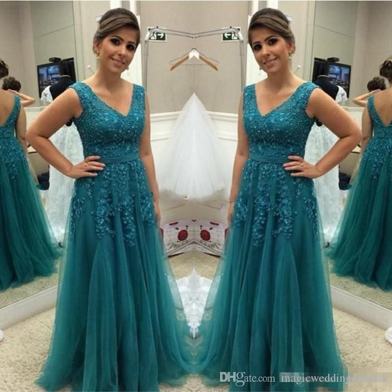 2017 Teal Green Plus Size Mother Of The Bride Dresses Elegant Beaded Tulle  Prom Party Dress A Line Formal Celebrity Evening Occasion Gowns Cheap ...