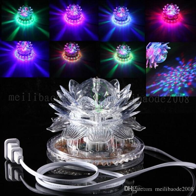 2017 새로운 로터스 효과 빛 자동 회전 11W LED RGB 크리스탈 무대 빛 51pcs 홈 장식에 대 한 구슬 램프 DJ 디스코 바 최고의 선물 MYY