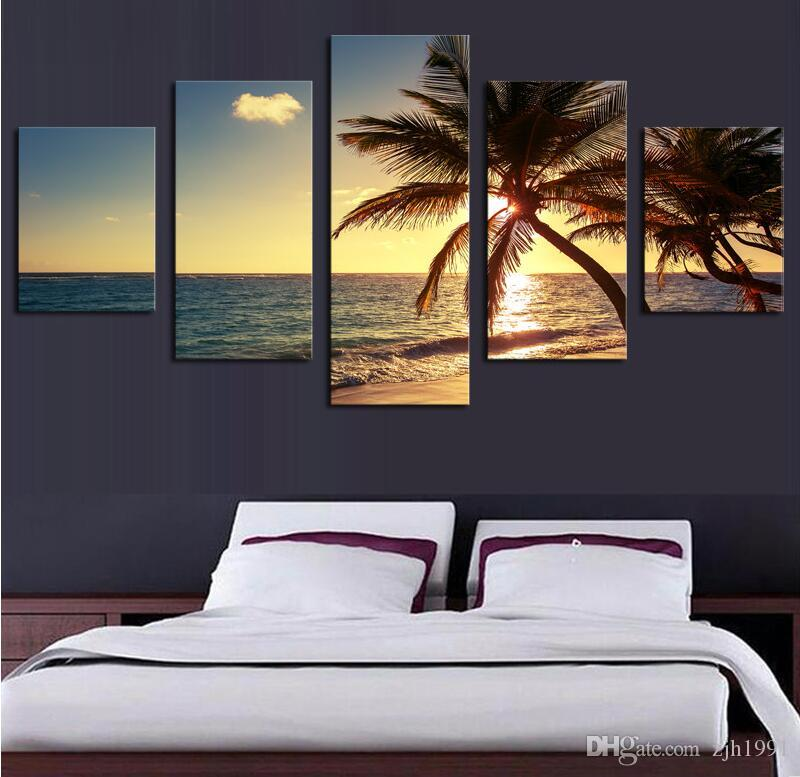 5 Piece Beach coconut tree Modern Home Wall Decor Canvas Picture Art HD Print Painting On Canvas Artworks