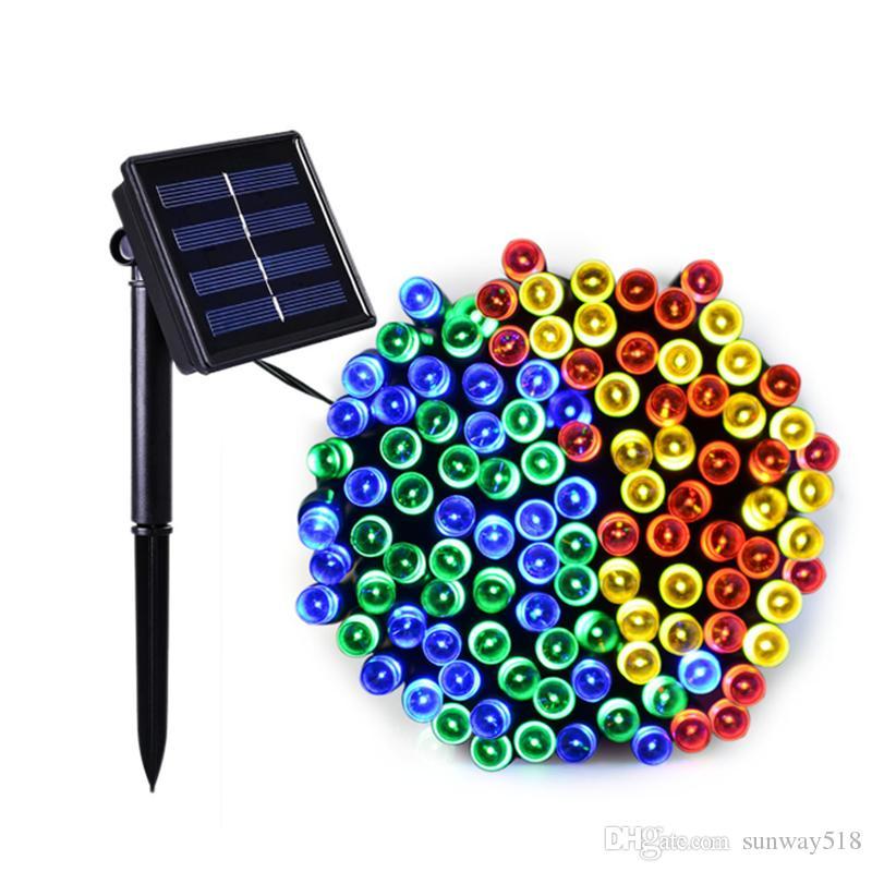 المصابيح الشمسية الصمام سلسلة الأنوار 100/200 المصابيح في الهواء الطلق الجنية عطلة عيد الميلاد حزب أكاليل للطاقة الشمسية حديقة الأنوار حديقة ماء