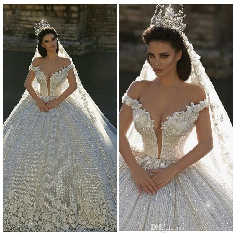 2017 Off Shoulder Lace Appliques Ball Gown Wedding Dresses Sequined ...