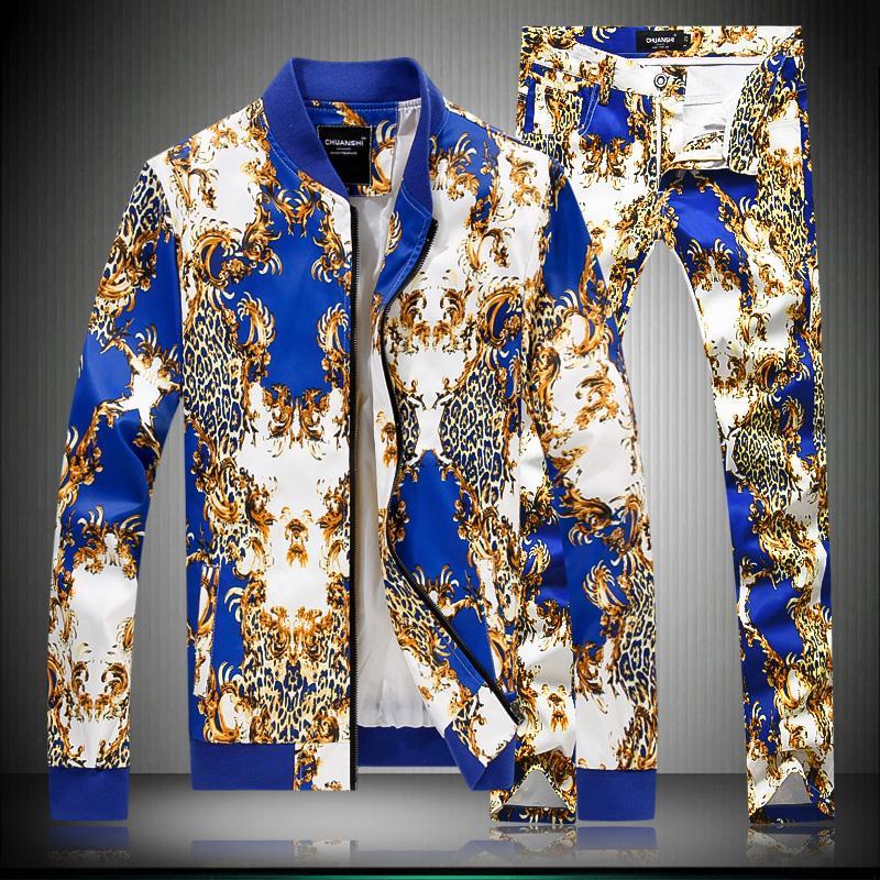 Nouveau mâle printemps automne coton costume impression mode slim casual 2 pièces ensembles marée surdimensionné à manches longues