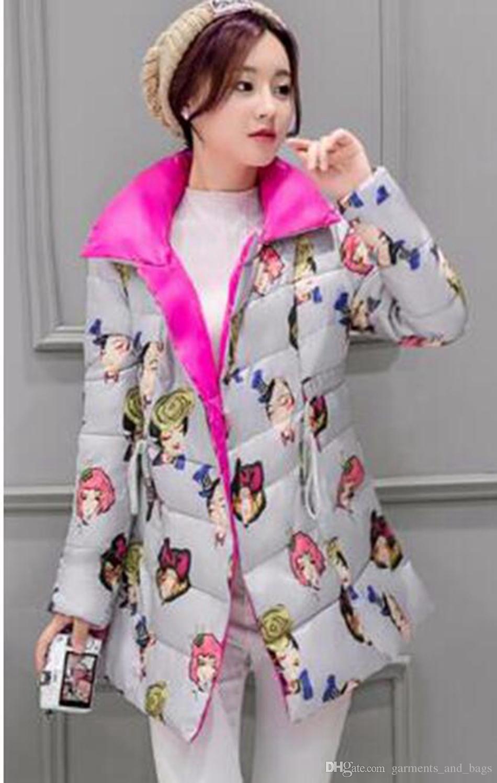 Хан издание британских женщин зима новый бутик личности печатных утолщение хлопок-телогрейку пуховик пальто / S-XL