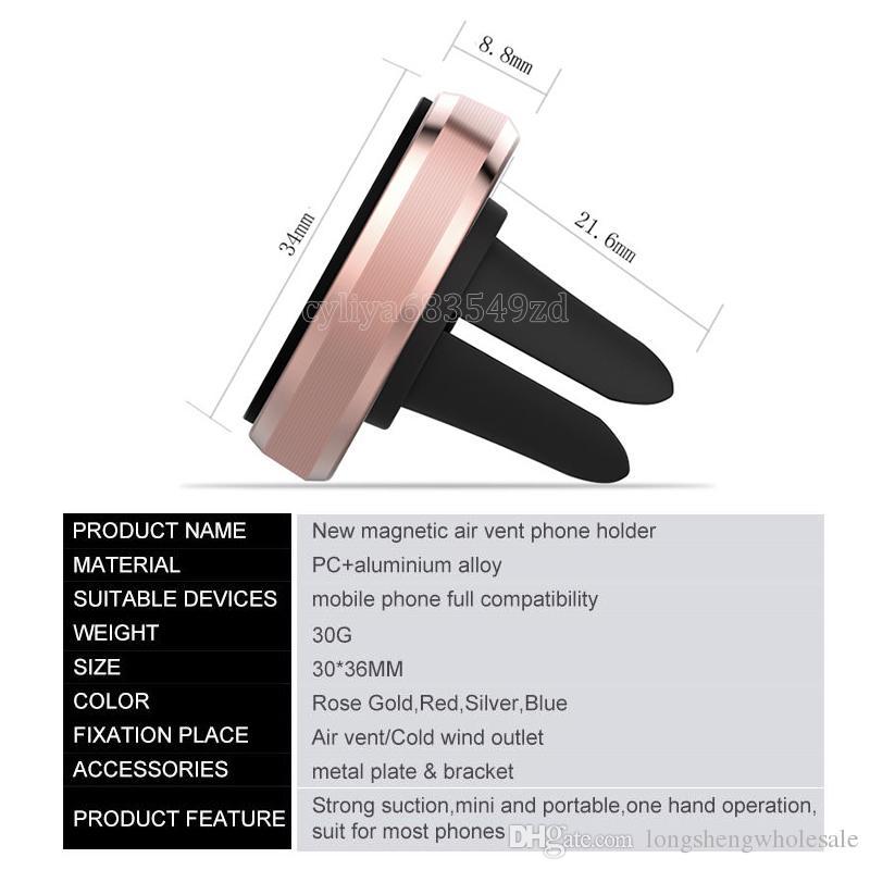 Universal Air Vent Magnetic Phone Holder Mobile per Smartphone Magnet Car Holder Telefono alluminio Monte silicone supporto del basamento