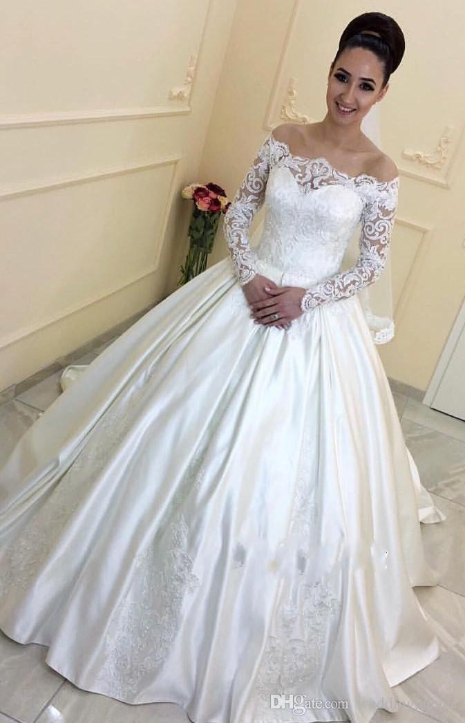 En Yeni Uzun Kollu Saten A Hattı Gelinlik AYDINLATMA Boncuklu Gelin Elbise vestidos de Noiva Gelin Gelinlikler Robe De Mariage