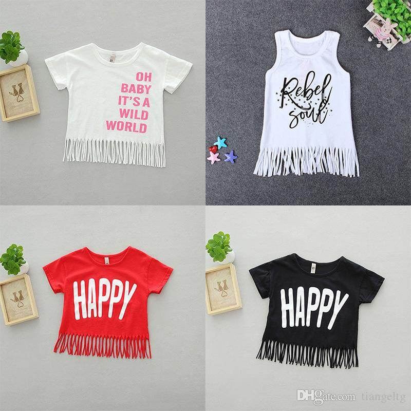 "Girls T-shirts with Tassels Loose O-neck ""OH BABY IT'S A WILD WORLD"" Printed Letters 100% Cotton 12M-5T"