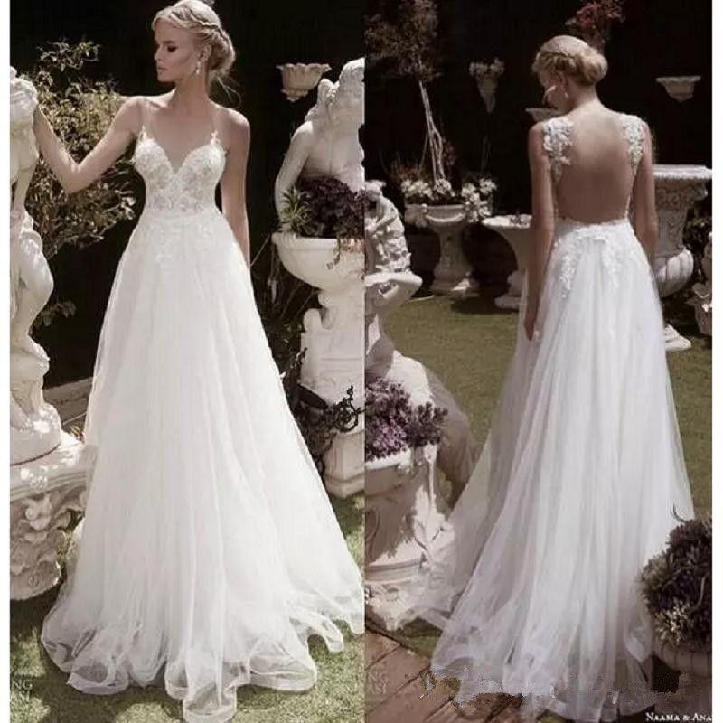2017 Elegant Garden Wedding Dresses A-line Sheer V-neck Appliques ...