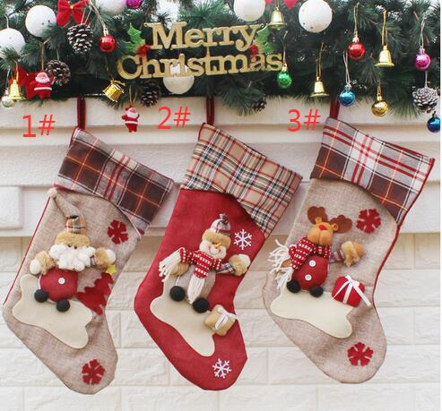 Regalo per Capodanno 2017 Decorazioni di Natale Decorazioni del partito Santa Claus Christmas Stocking Candy Socks Regali di Natale Borsa per la casa TY258