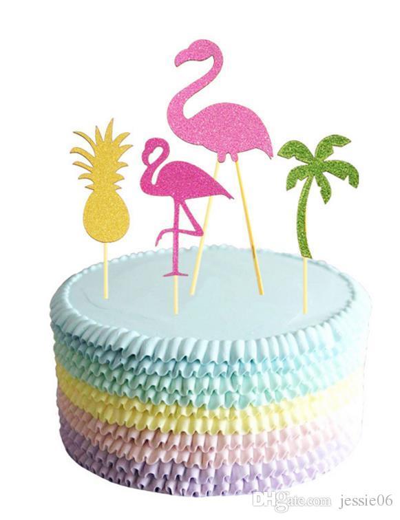 Flamingo Pineapple Coconut Tree Cake Toppers BBQ Hawaiian Tropical Summer Party Comida Cóctel de boda Cupcake Toppers Palos Decoración