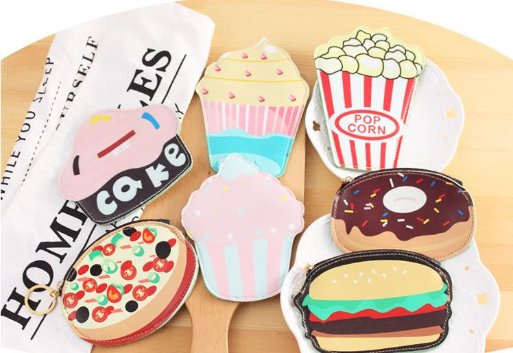 Wholesale- NEW 7Designs. Cake Etc. Snacks Coin BAG , 10cm gift Girl's Coin BAG Pouch ; Pocket Coin purse Holder Pouch Case