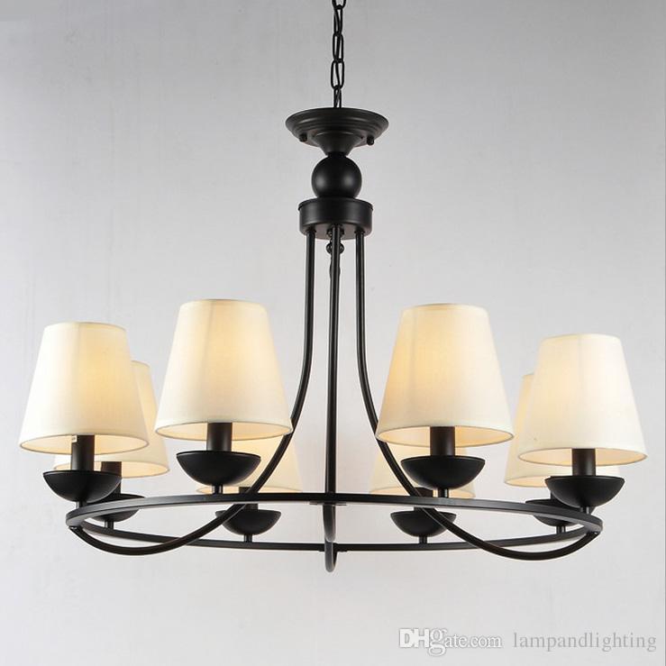 البلاد الأمريكي نمط الأسود المعادن قلادة مصباح النسيج الثريا e14 المقبس أدى الإضاءة fiixture شنقا مصباح معلق