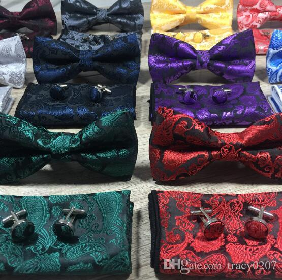 Classic Self Bow Tie And Hanky & Cufflinks Set Silk Jacquard Woven Men Butterfly BowTie Pocket Square Handkerchief Suit Wedding