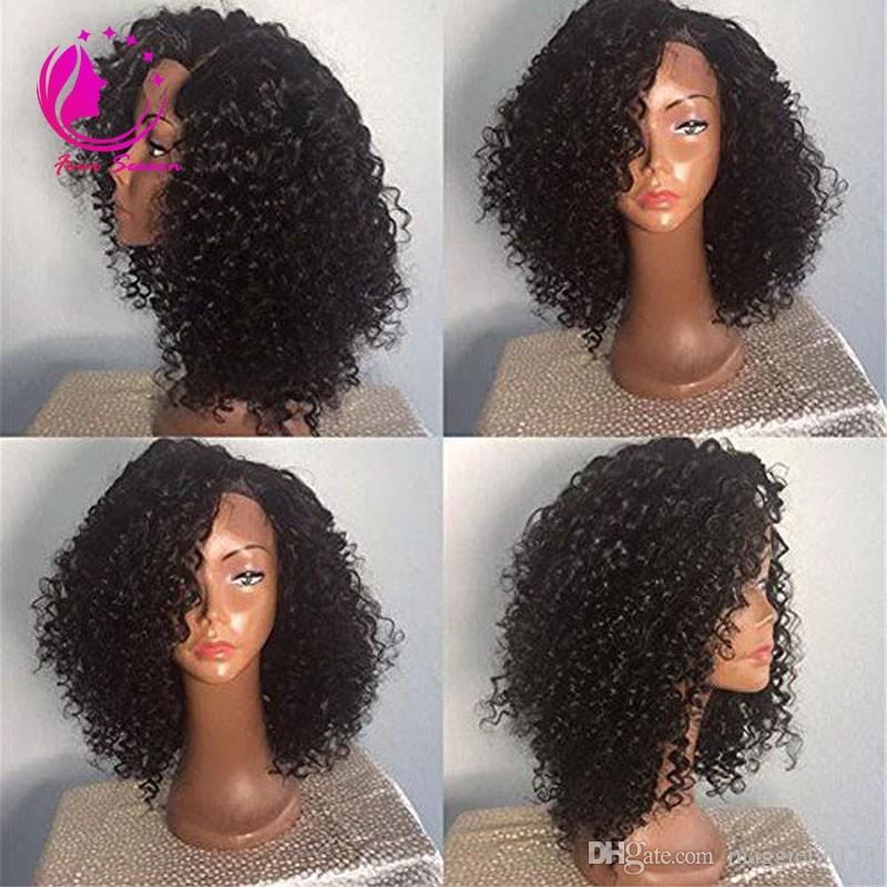 150 Heavy Density Unprocessed Virgin Brazilian Kinky Curly Lace Front Wig Glueless Lace Front Human Hair Wig 14Inch With Side bangs