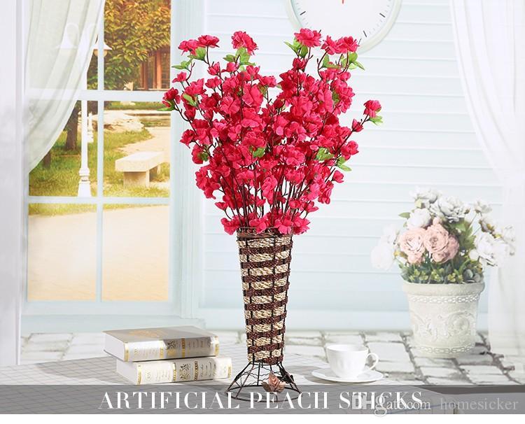 60 Pcs / lot Artificielle Pêche Cherry Blossom 65 cm Soie Faux Fleurs Accueil Mariage et fête Décoration flores artificiales