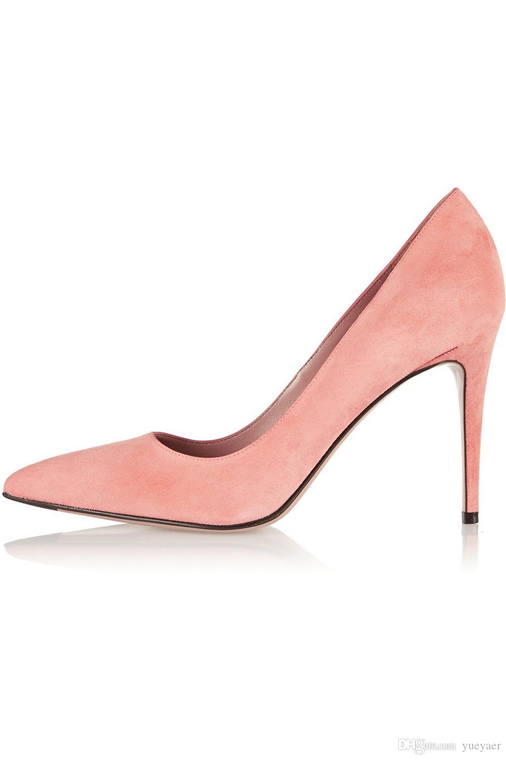 Karmran Hot Sale Ladies Handmade Fashion Sweet Girl Style Suede High Heel Party Pumps Shoes Pink