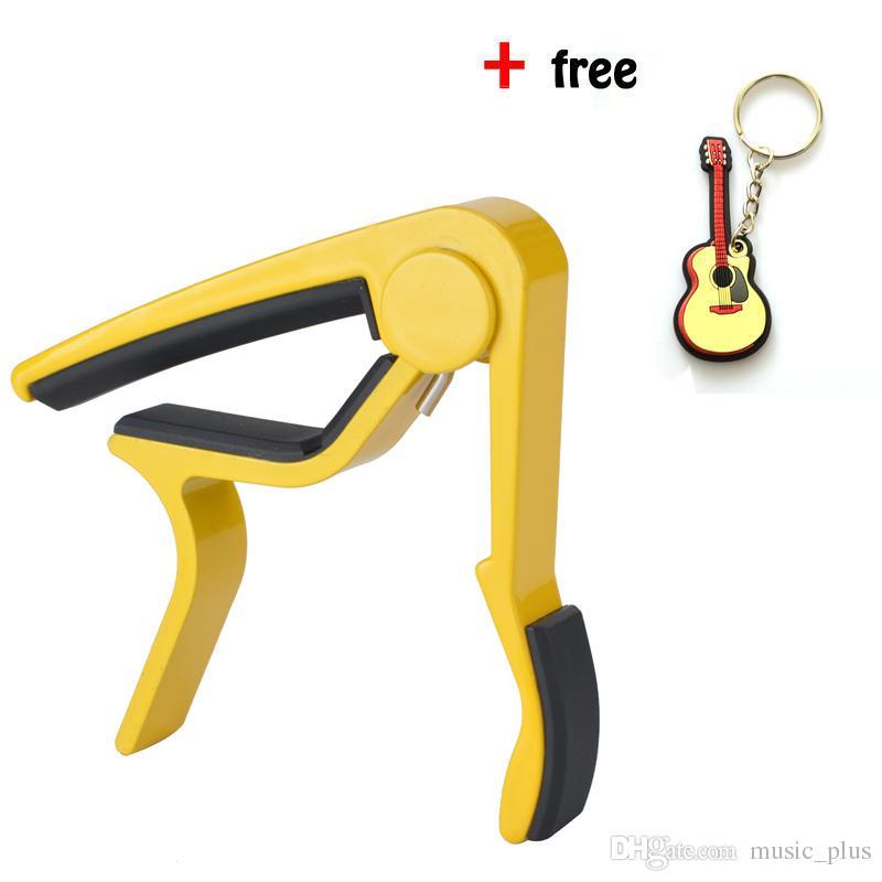 Ücretsiz Gitar Anahtarlık -Aluminum ile Akustik Gitar Sarı Tek elle Gitar Capo Hızlı Değişim