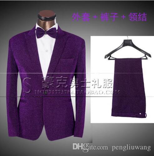 Roxo 2017 new arrival marca-roupa magro homens terno conjunto com calças mens ternos noivo formal vestido de casamento terno + calça + gravata 4XL