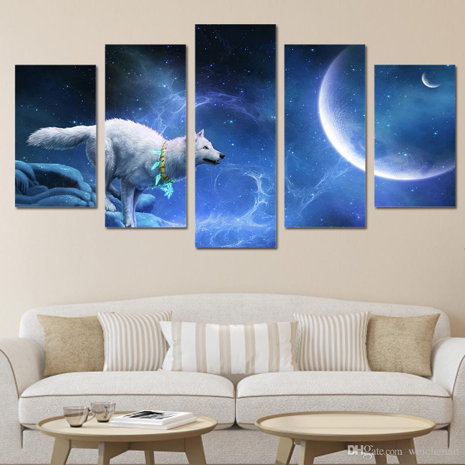 5 Pcs / Set Framed HD Impresso mágica lobo branco Grupo pintura retrato Canvas sala de impressão decoração cartaz Impressão em tela Frete grátis / ny-321