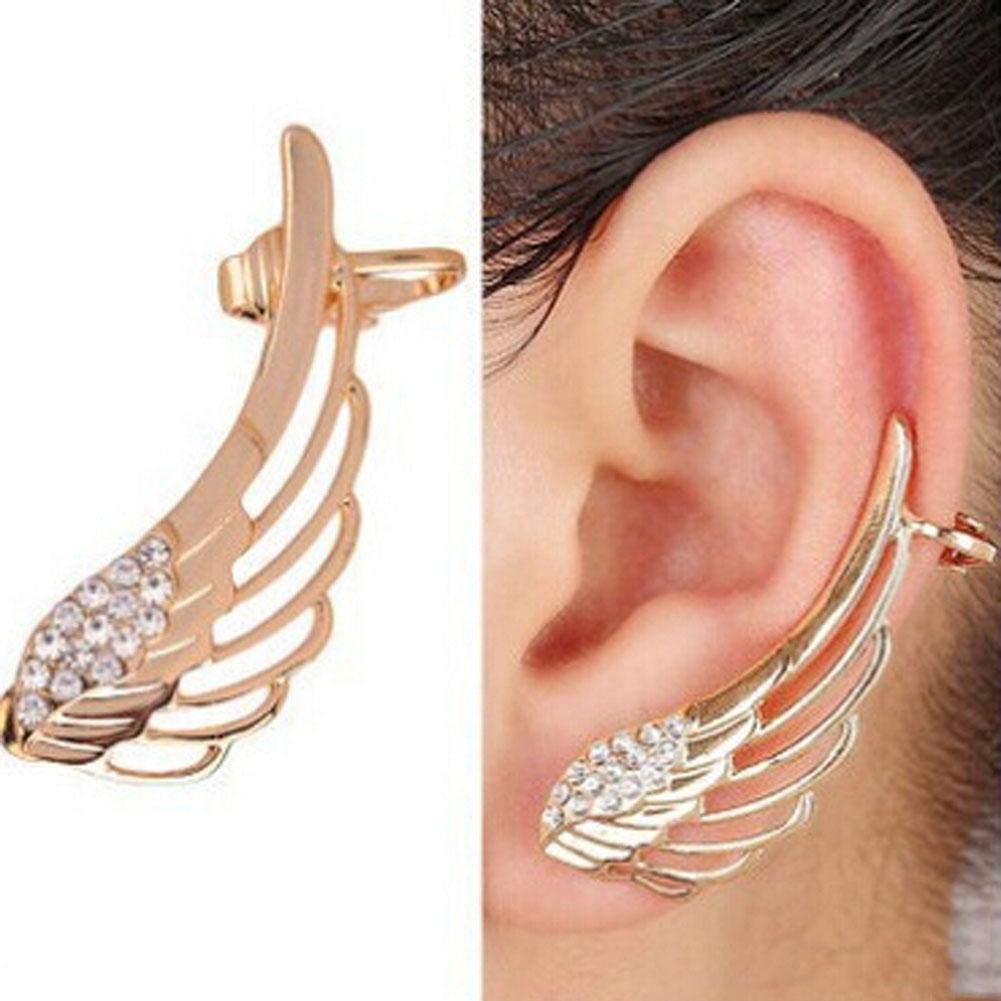 Pendientes new fashion punk strass orecchini a clip per le donne angelo ala oro orecchino polsino dell'orecchio brincos gioielli può pi