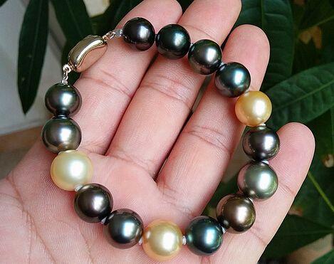 Fine perle bijoux naturel naturel 10-11mm perle noire de Tahiti bracelet naturel perle de mer couleur mélangée bracelet couleur lumineuse ronde 7-8 pouces
