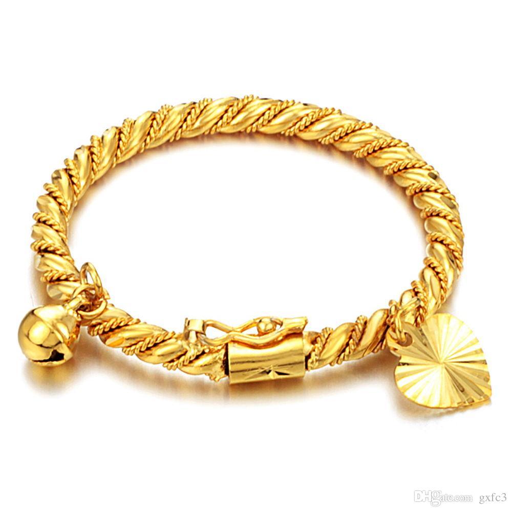 Braccialetto in oro Bracciale rigido per bambini Kid Boy Girl Bambino cuore pendente Bell Twist catena polsini Gioielli moda
