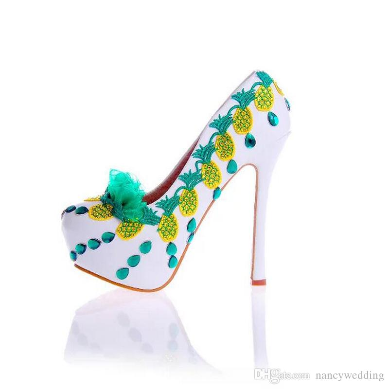 2017 Spring Women High Heel Shoes with Flower Lady Performance Shoes Stiletto Heel Wedding Party Pumps Girl Birthday Party Shoes