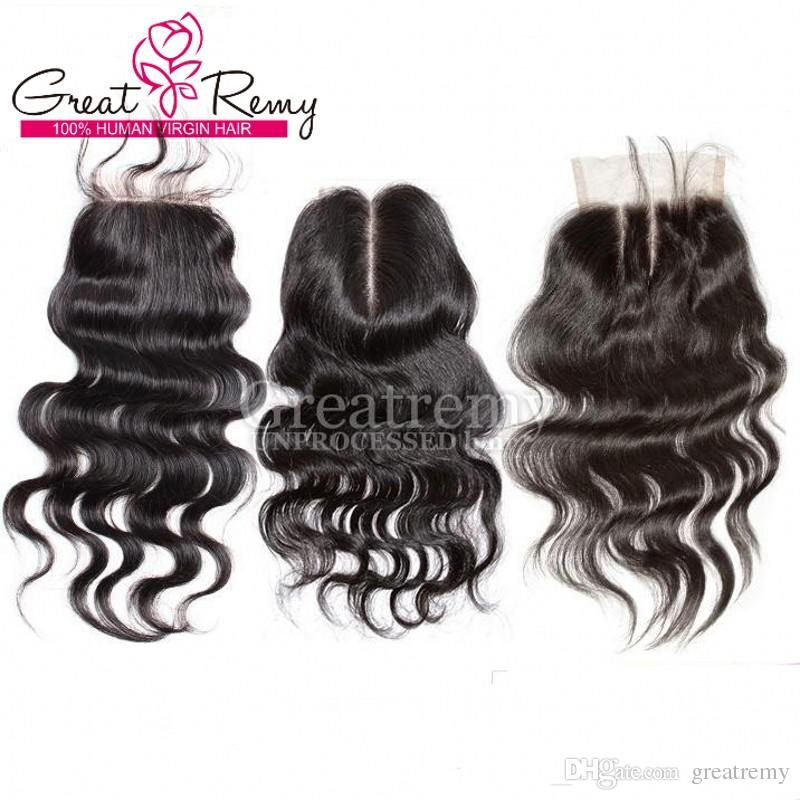 Greatremy® Body Wave Human Hair Lace Closure Hair Pieces Bleached Knots 8A Indian Malaysian Peruvian Brazilian Virgin Hair
