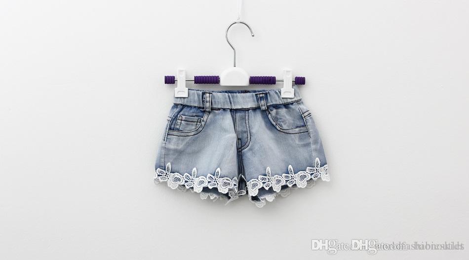 2015 çocuk Şort Yaz Çocuk Denim Şort Kore Kız Dantel Şort çocuk Kot Sıcak Pantolon 100-140 Boyutu Fabrika Satış Çocuk