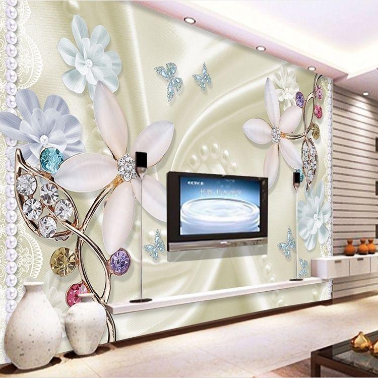3d Jewel Lily Diamond Background Wallpapers Custom Seamless Large Fresco Wall Wall Tv Wall Bedroom Bed Background Hd Wallpapers Desktop Backgrounds Hd