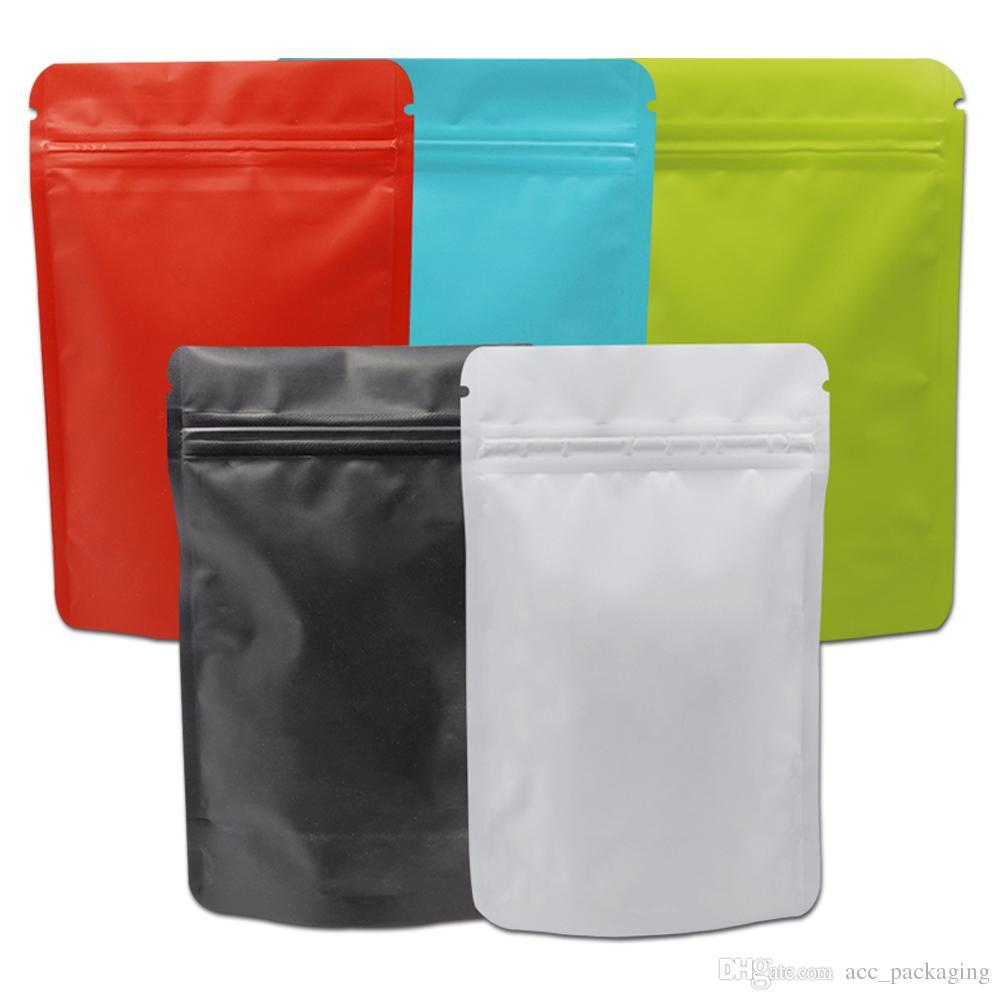 50pcs Stand Up Matte Mylar Bag calor selável Zipper fechamento Bolsa Doypack Pure Folha de alumínio sacos de café metálica pacote de saco