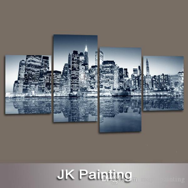 Custom Canvas Prints Wall Decor Canvas Painting of New York City Buildings for Home Living Room Decoration--Digital Oil Painting
