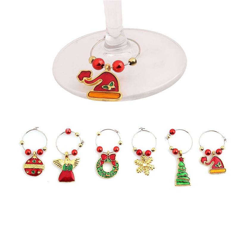 Wholesale- 1 set Christmas Wine Glass Decoration Charms Party New Year Cup ring Table Decorations Xmas Pendants Metal Ring Decor YL879967