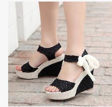 L'été femme sandale pour femmes cales sandales à plateforme chaussures à talons hauts tissu net ceinture de dentelle 550 - 836 / Q5