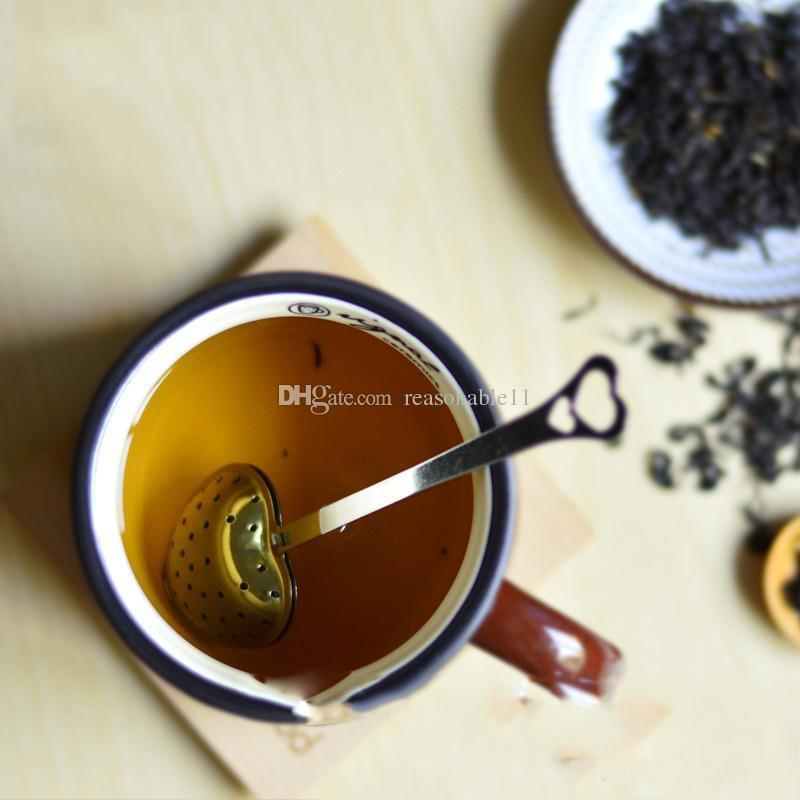 """Convenienza Cuore Tea infusore """"Tea Time"""" Heart-Shaped filtro in acciaio Tisana Filtri infusore Spoon manico lungo di trasporto"""