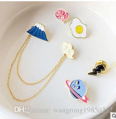 Cute cartoon chain brooches pins sweet mount fuji planet fried egg plutus cat clouds drip brooch pin good gifts