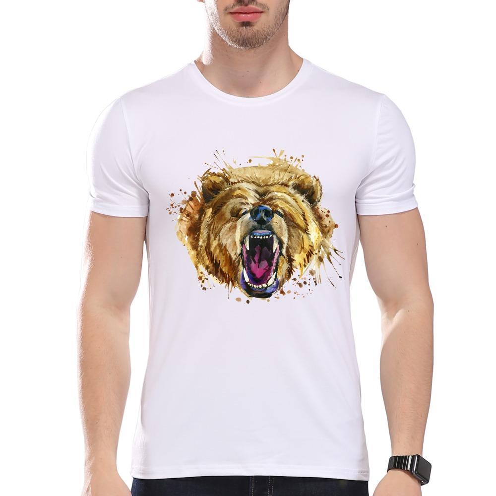 Männer Kleidung Tees Günstige Männer Casual Art Stil Aquarell brüllenden Bär Print T-Shirt Herren Sommer Modal Hipster Tees weiß