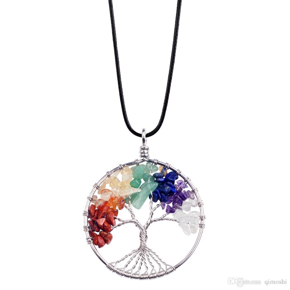 12pc/set Fashion classic old pendant necklace gem tree 7 chakra stone beads tree of life for men and women gift for Mother's day gift