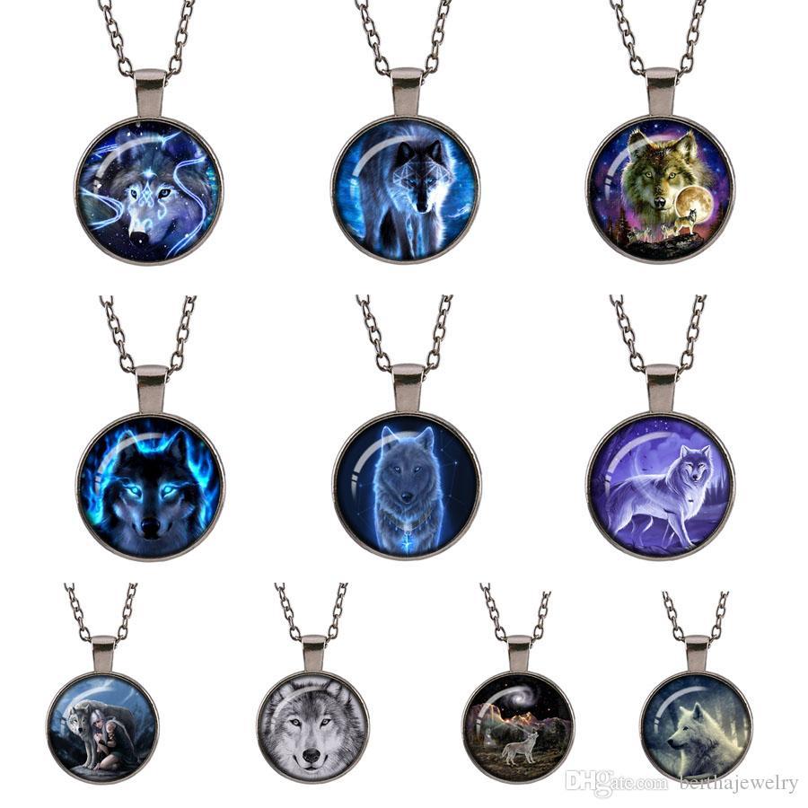 Wolf Schmuck - Blue Wolf Halskette - Retro Gun schwarz Tier Geschenk für Frauen - Bild Anhänger
