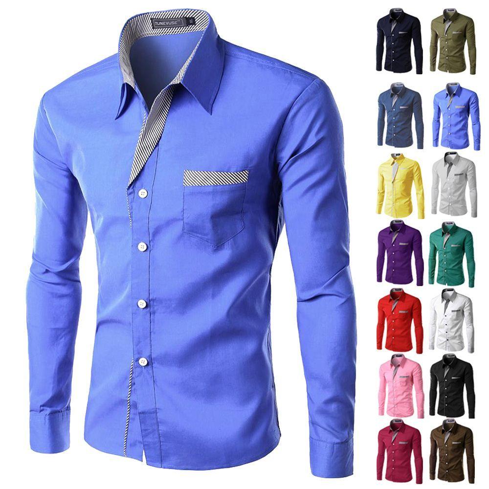 Marca New Mens Formal Negócios camisas casuais Magro manga comprida Dresse Shirts Camisa Masculina Casual Shirts Asiático Tamanho M-4XL 8012