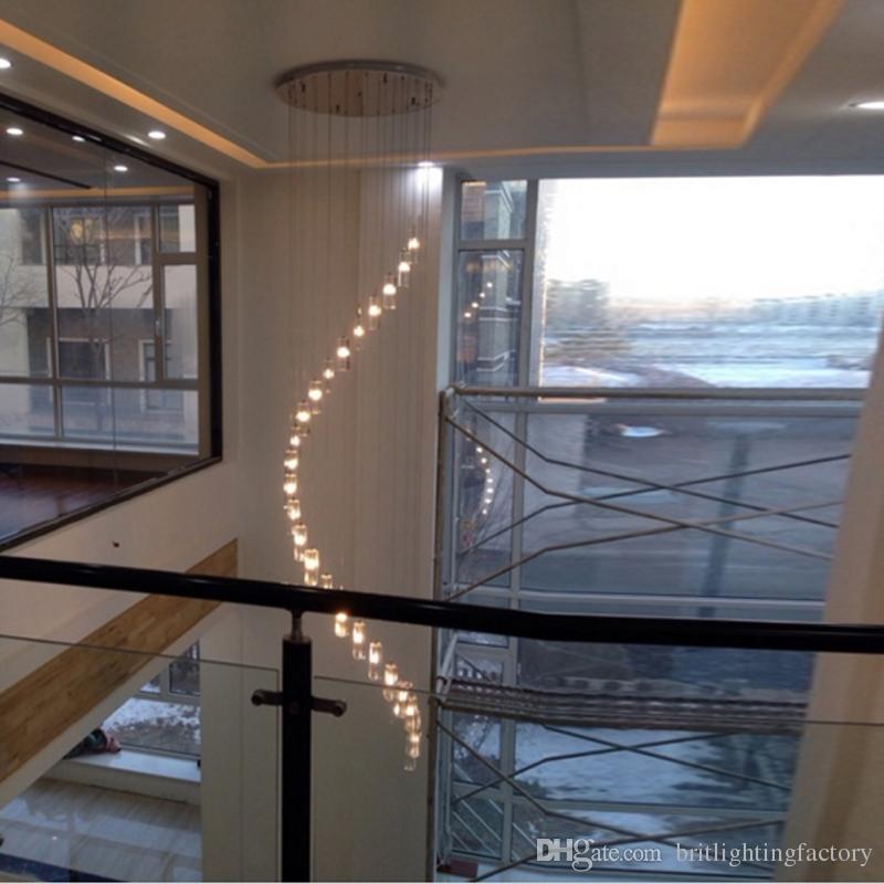 Uzun kristal avize villalar Merdiven Spiral Kristal Avize Aydınlatma merdiven ışık avizeler tavan yüksek halat largechandeliers