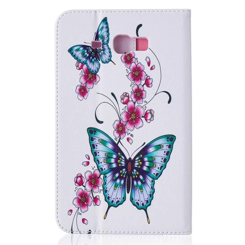 Tablet Case For Samsung Galaxy Tab A 7 0 SM T280 SM T285 Cover Wallet Stand  Leather Case With Card Slot Painting Butterfly Tower Tablet Cases 8 7