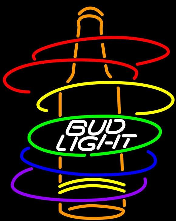 Bud Light Arcobaleno Bottiglia Neon Sign 16x16