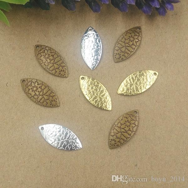 BoYuTe 100 Pcs 13 * 19MM 3 colori fascini foglia d'epoca materiali in ottone all'ingrosso accessori per gioielli ciondoli gioielli ciondolo fai da te