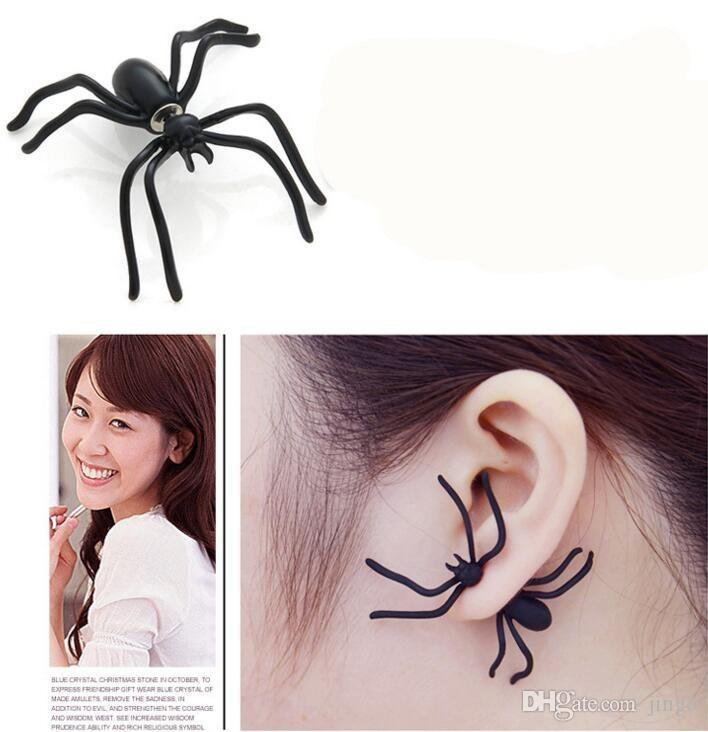 Ddesign Punk Halloween Black Spider Charm Ear Stud Earrings Evening Gift For Party Halloween Costume Novelty Toys nt