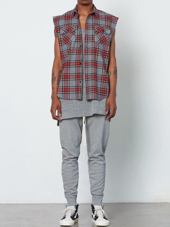 XL - length:86 chest:114 Shoulder breadth:53 Sleeve width:34 - 2017 2017 New Fashion Hip Hop Mens Sleeveless Flannel Shirts Men