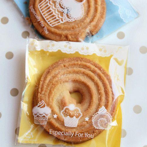 Saco de Biscoito Autoadesivo Biscoito, Muffin Bolo Saco Recipiente Embalagem de Alimentos para o Casamento e Festa do Festival Suprimentos 9 * 9 + 3 cm