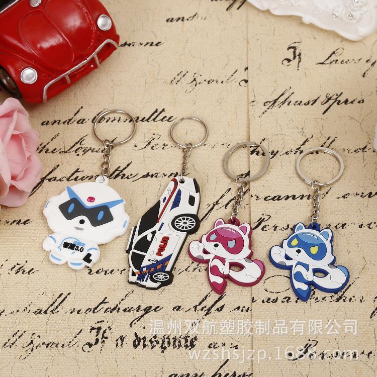 Fabricant de production personnalisée de bande dessinée en silicone souple en caoutchouc souple porte-clés en gros PVC en plastique clé pendentif accessoires