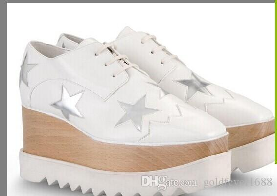 new wholesale Stella Mccartney Shoes Black Genuine Leather Upper Silver Glitter Stars White Sole Stars Shoes Platform