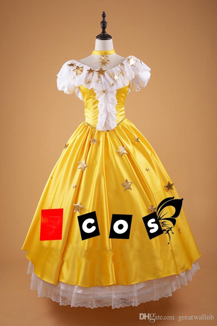 백퍼센트 진짜 노란색 레이스는 별 장식을 장식 애니메이션 가운 가운을 중세 드레스 코트 르네상스 가운 벨 공 / 사용자 정의 크기