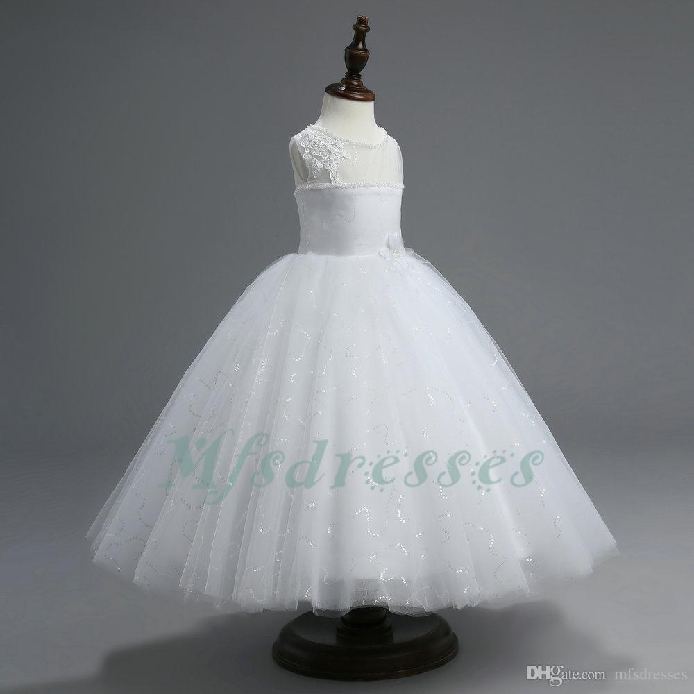 Manicotto della ragazza della ragazza di fiore dell'abito di sfera del manicotto della nuova protezione bianca per i matrimoni 2017 vestiti da prima comunione di lunghezza del pavimento dei Sequins per le ragazze